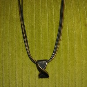 Gold and dark gray necklace
